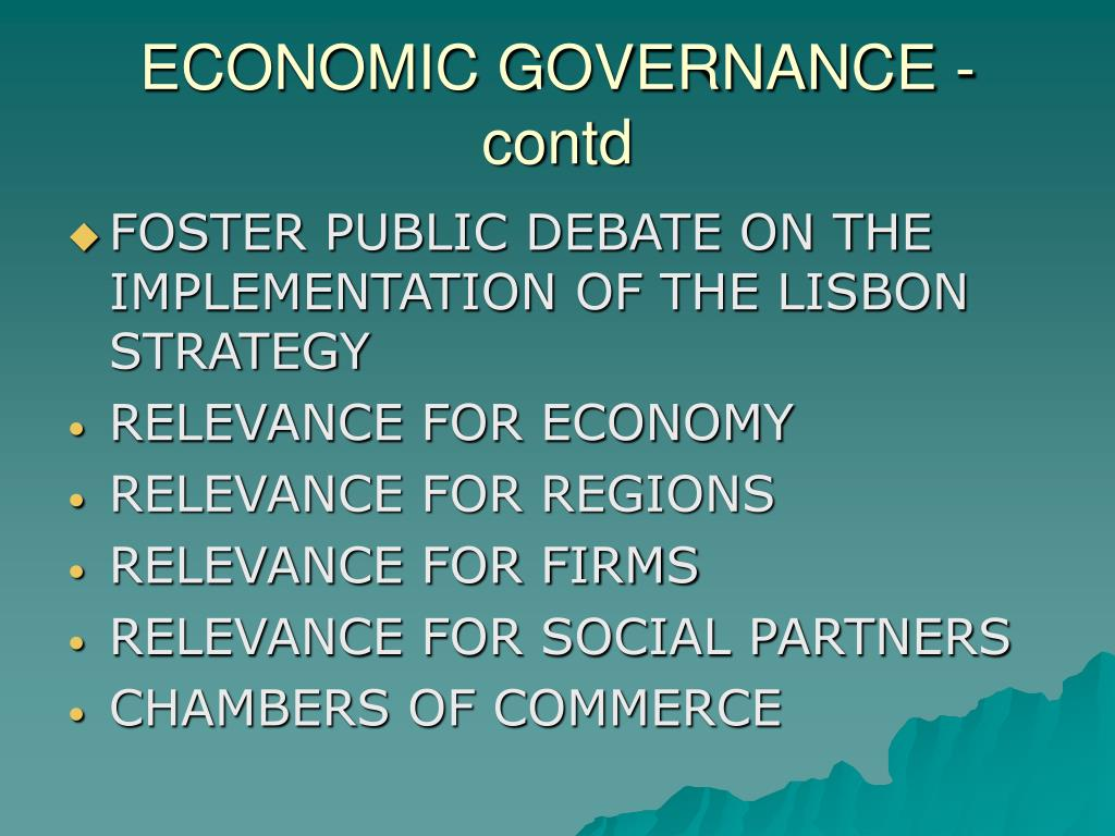 ECONOMIC GOVERNANCE - contd