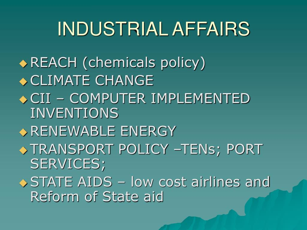 INDUSTRIAL AFFAIRS