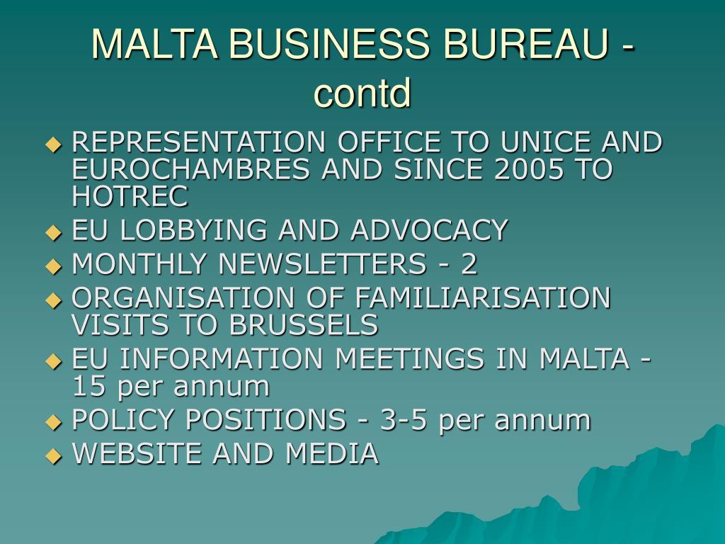 MALTA BUSINESS BUREAU - contd