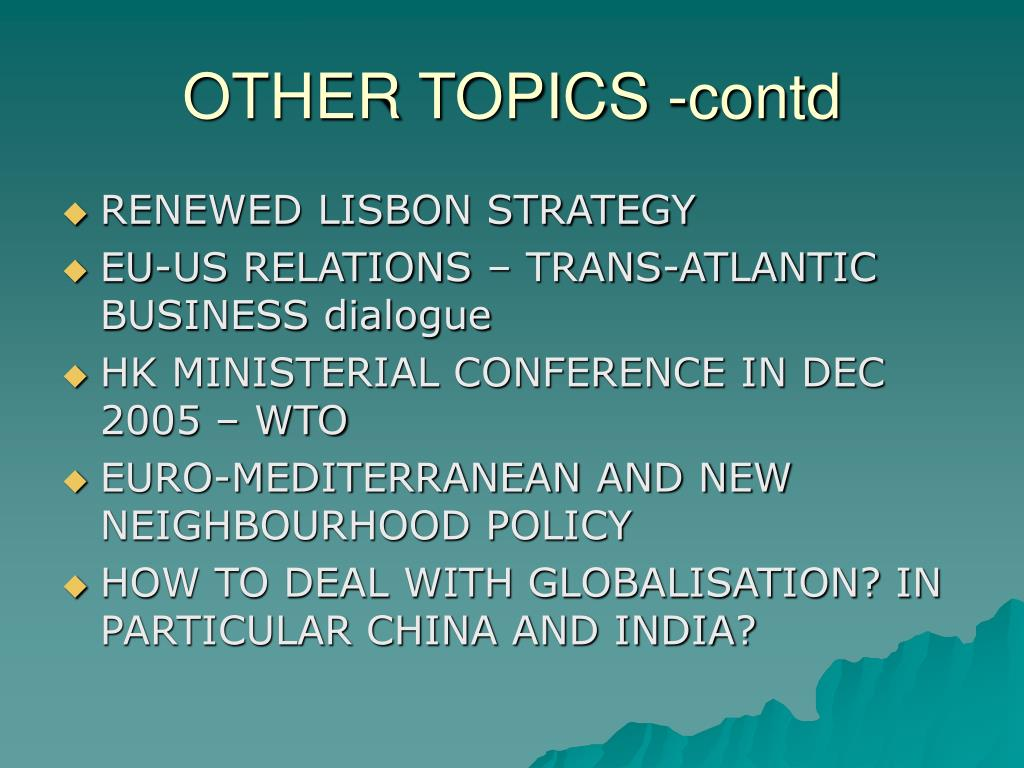 OTHER TOPICS -contd