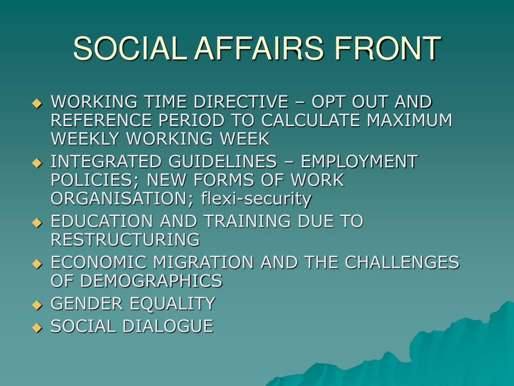 SOCIAL AFFAIRS FRONT