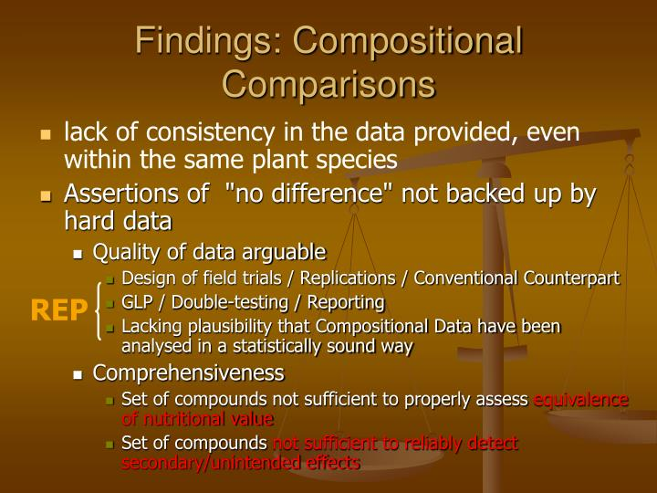 Findings: Compositional Comparisons