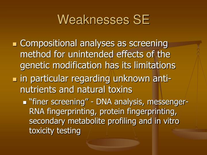 Weaknesses SE