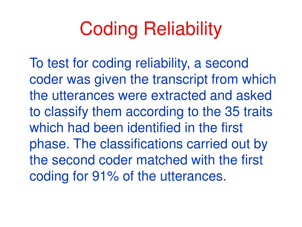 Coding Reliability