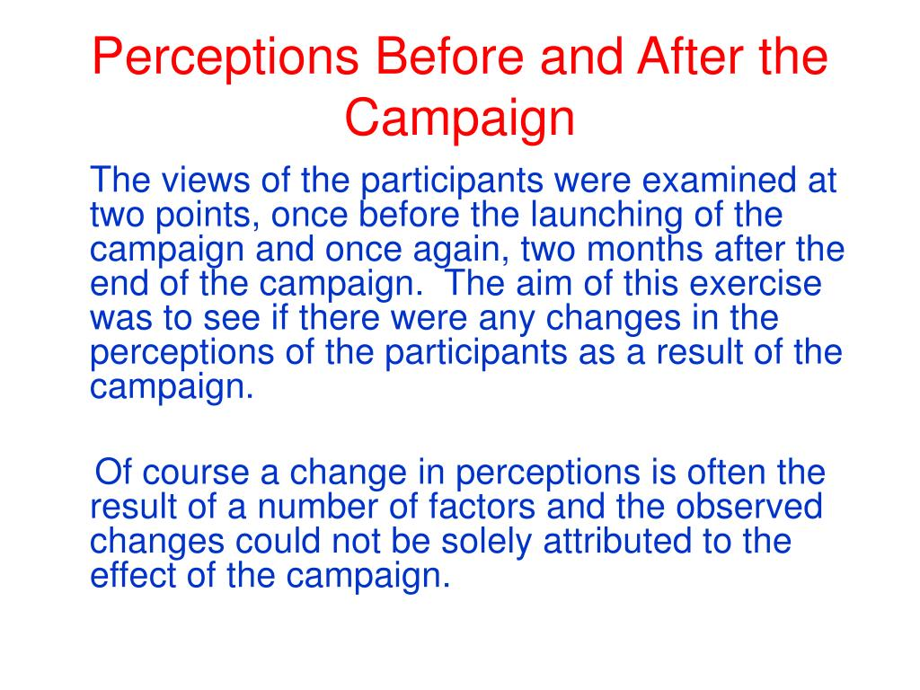 Perceptions Before and After the Campaign