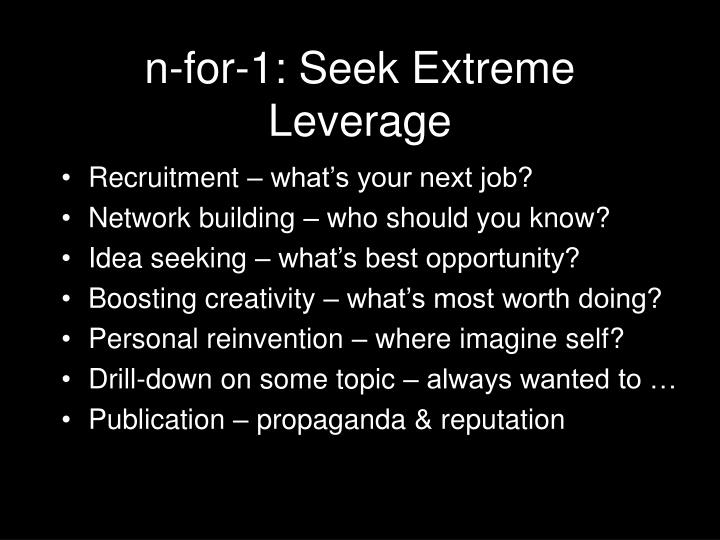 n-for-1: Seek Extreme Leverage