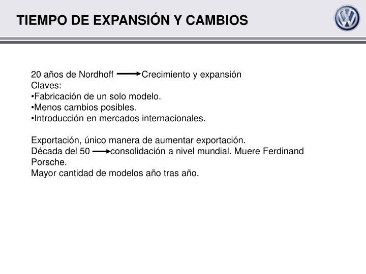 TIEMPO DE EXPANSIÓN Y CAMBIOS