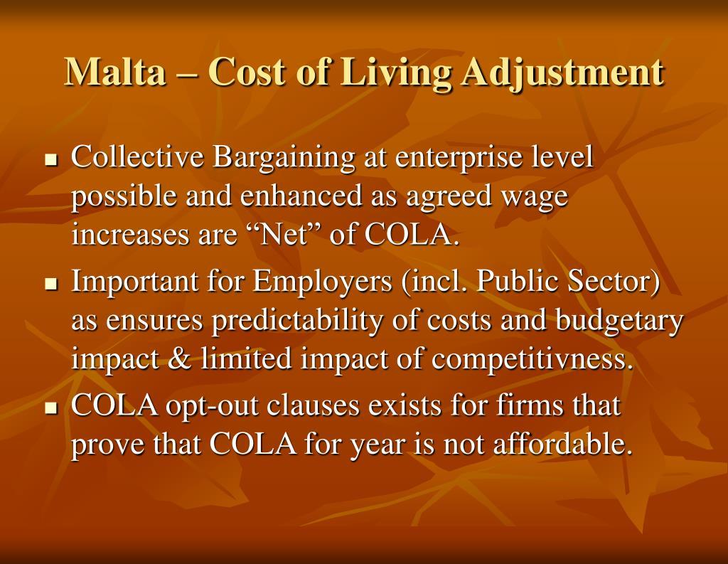 Malta – Cost of Living Adjustment