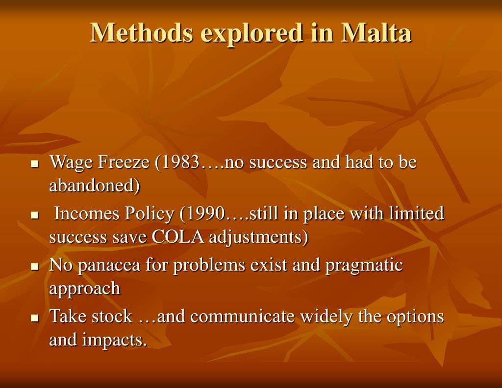 Methods explored in Malta