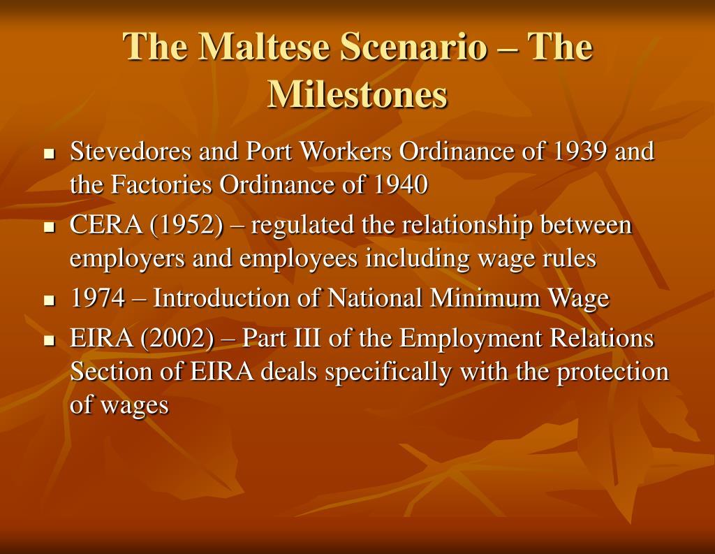 The Maltese Scenario – The Milestones