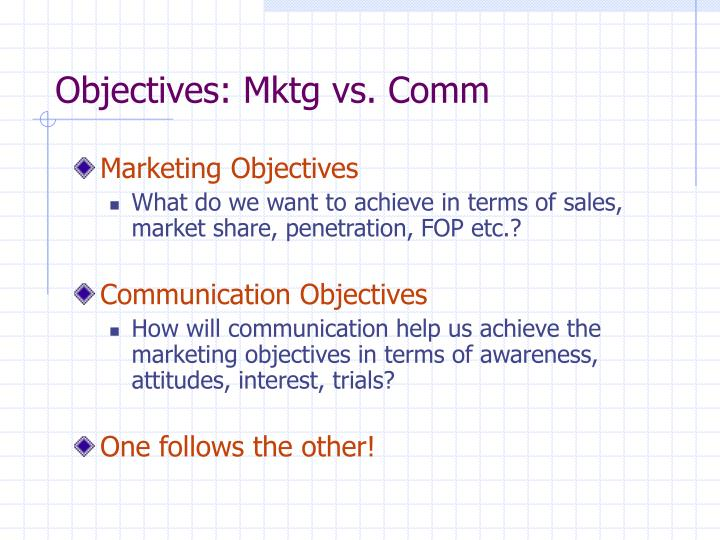 Objectives: Mktg vs. Comm
