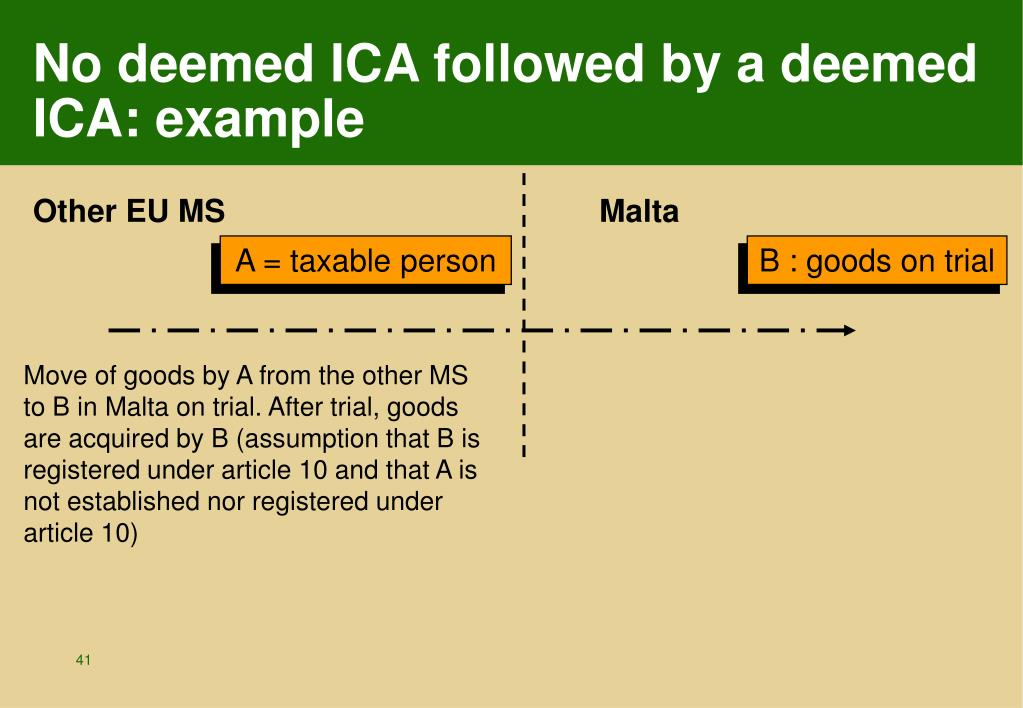 No deemed ICA followed by a deemed ICA: example