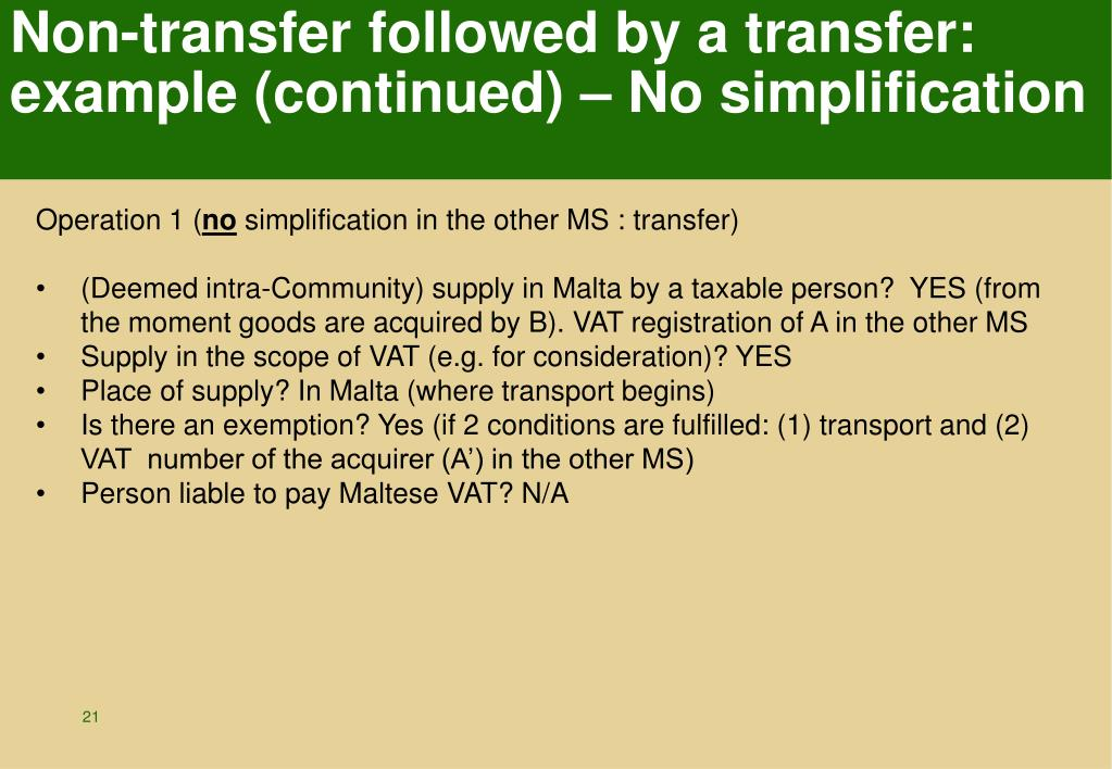 Non-transfer followed by a transfer: example (continued) – No simplification