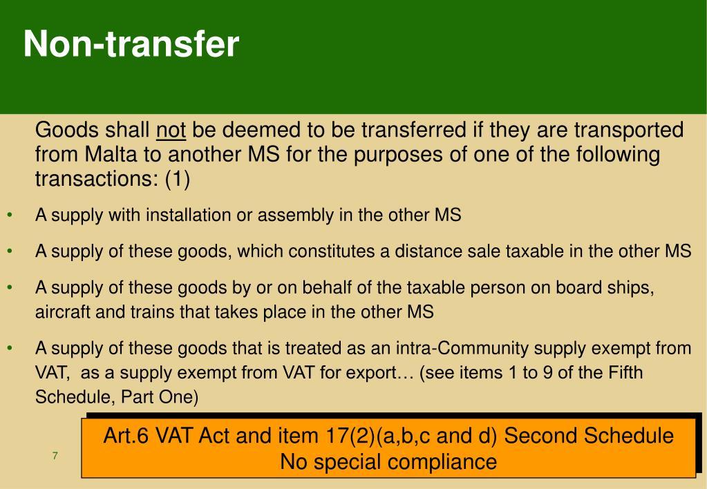 Non-transfer