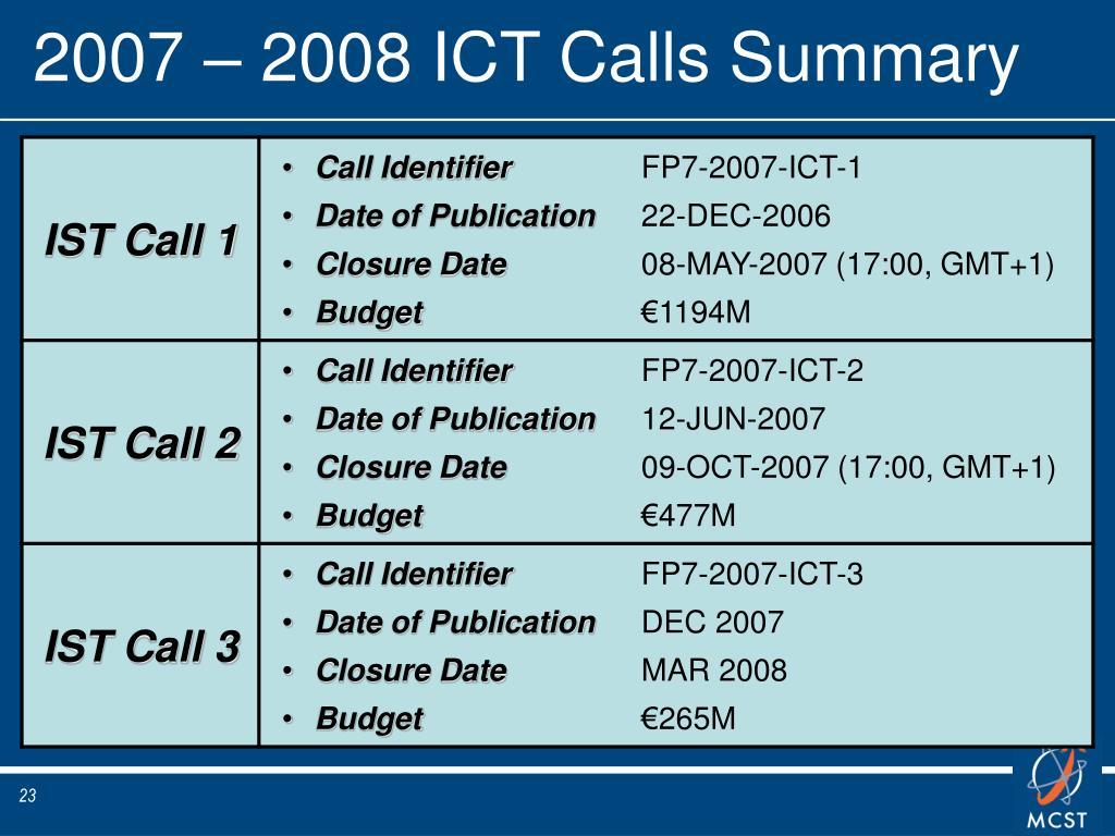 2007 – 2008 ICT Calls Summary
