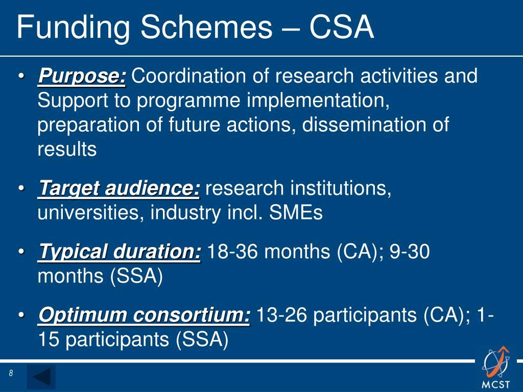 Funding Schemes – CSA
