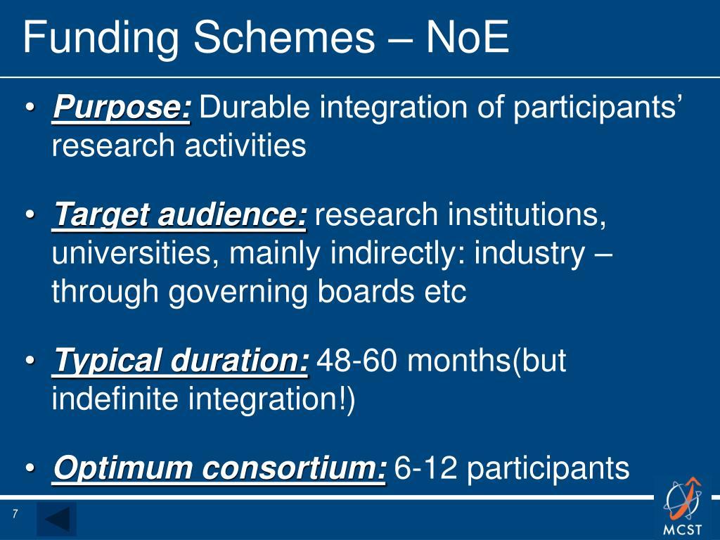 Funding Schemes – NoE