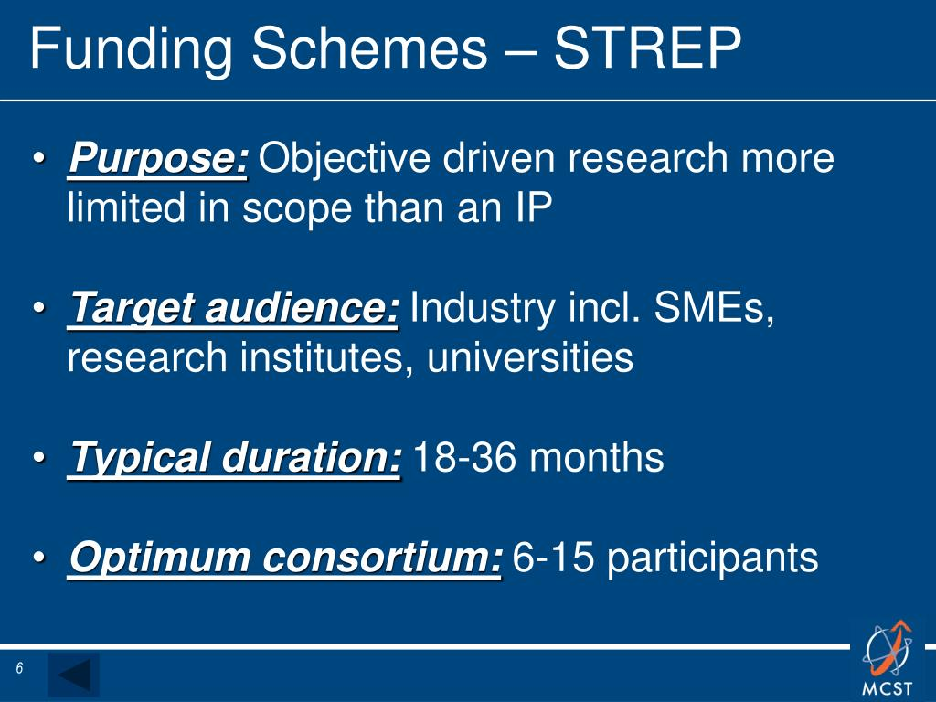 Funding Schemes – STREP