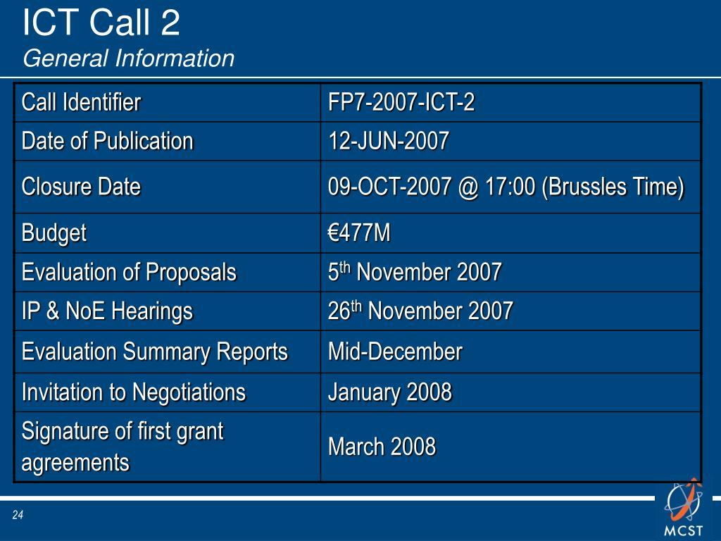 ICT Call 2