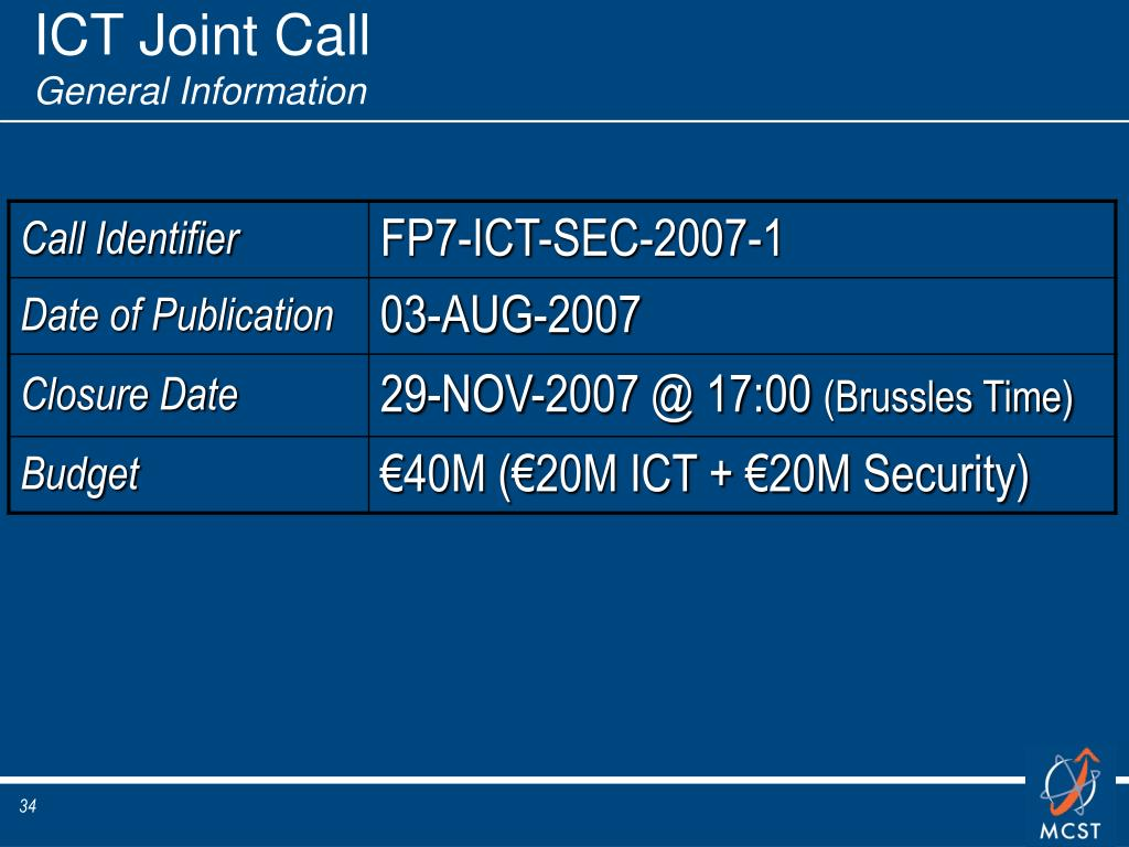 ICT Joint Call