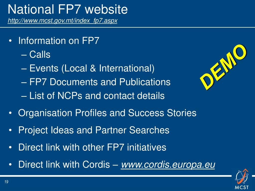 National FP7 website
