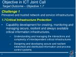 objective in ict joint call target outcome objective 1 7