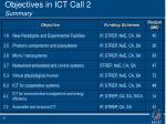 objectives in ict call 2 summary