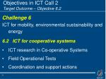 objectives in ict call 2 target outcome objective 6 2