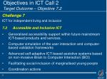 objectives in ict call 2 target outcome objective 7 2