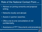 role of the national contact point cont