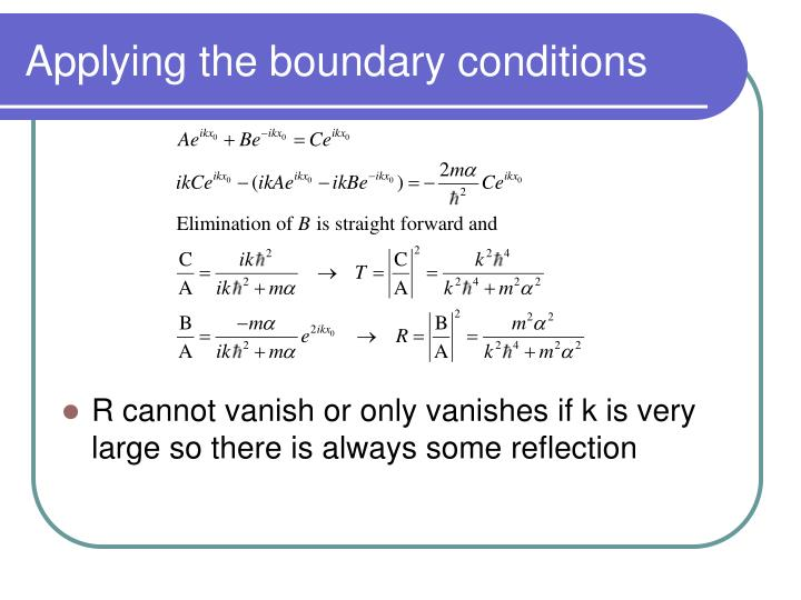 Applying the boundary conditions
