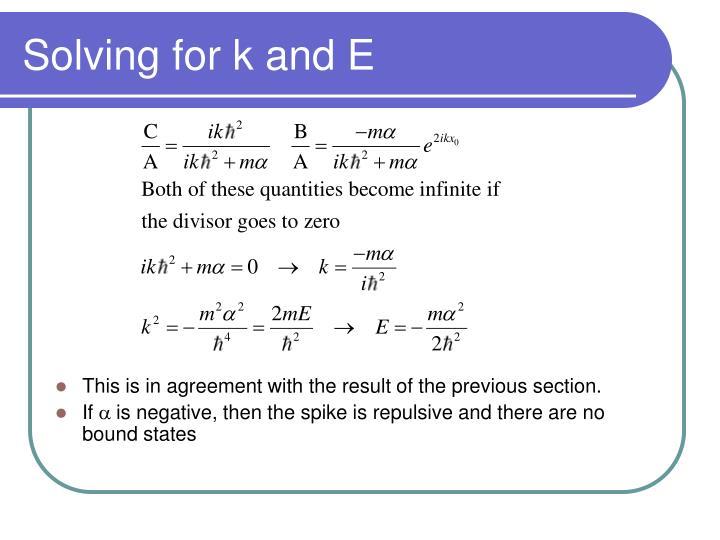 Solving for k and E