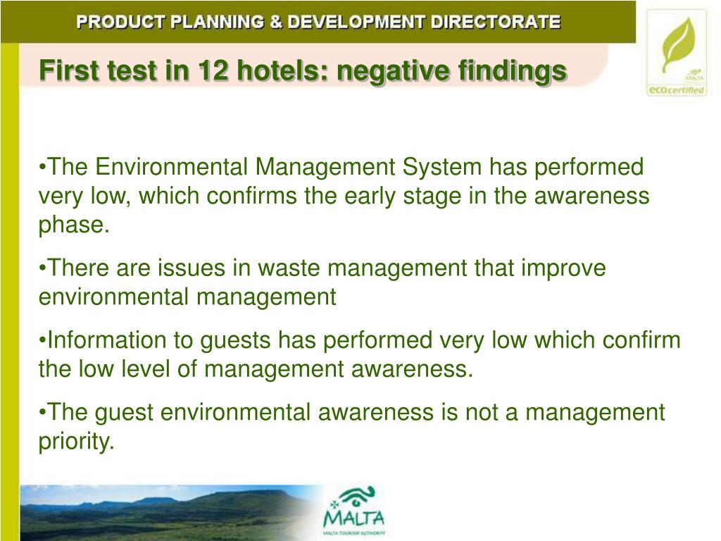 First test in 12 hotels: negative findings