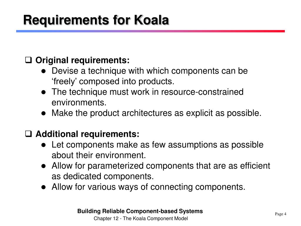 Requirements for Koala