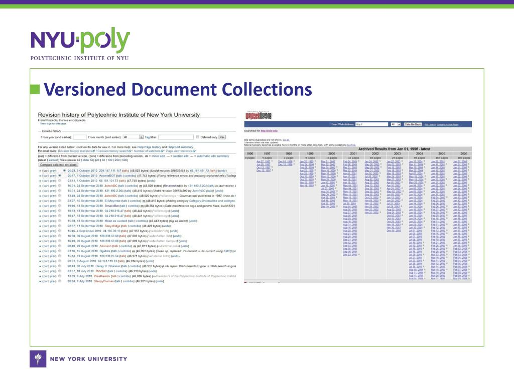 Versioned Document Collections