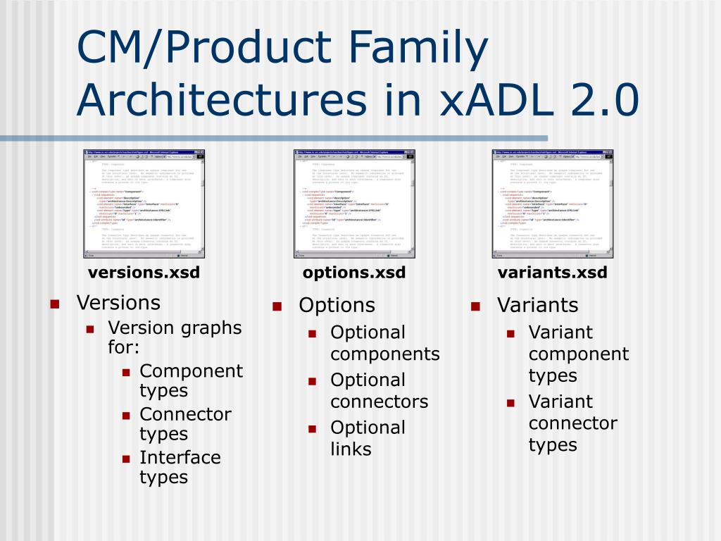 CM/Product Family Architectures in xADL 2.0