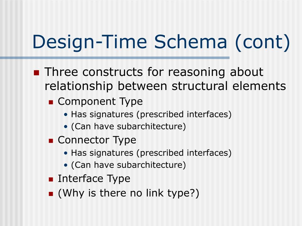 Design-Time Schema (cont)