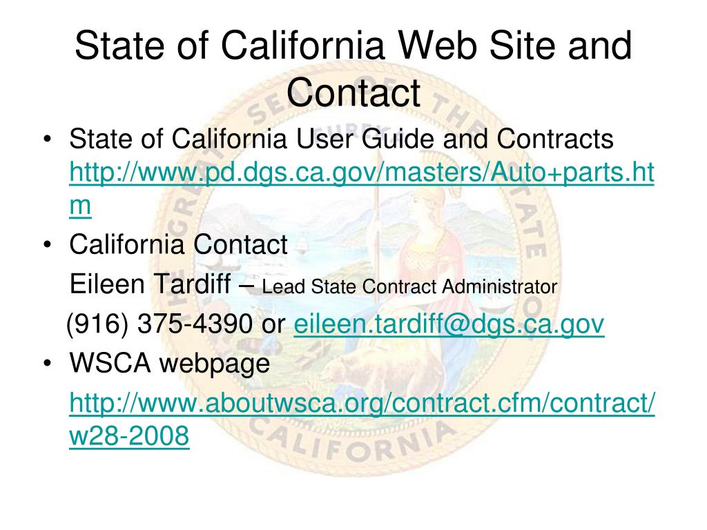 State of California Web Site and Contact
