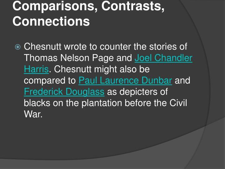 Comparisons, Contrasts, Connections