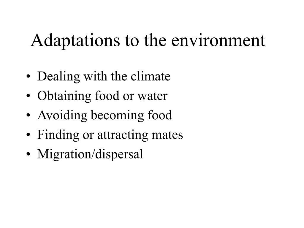 Adaptations to the environment