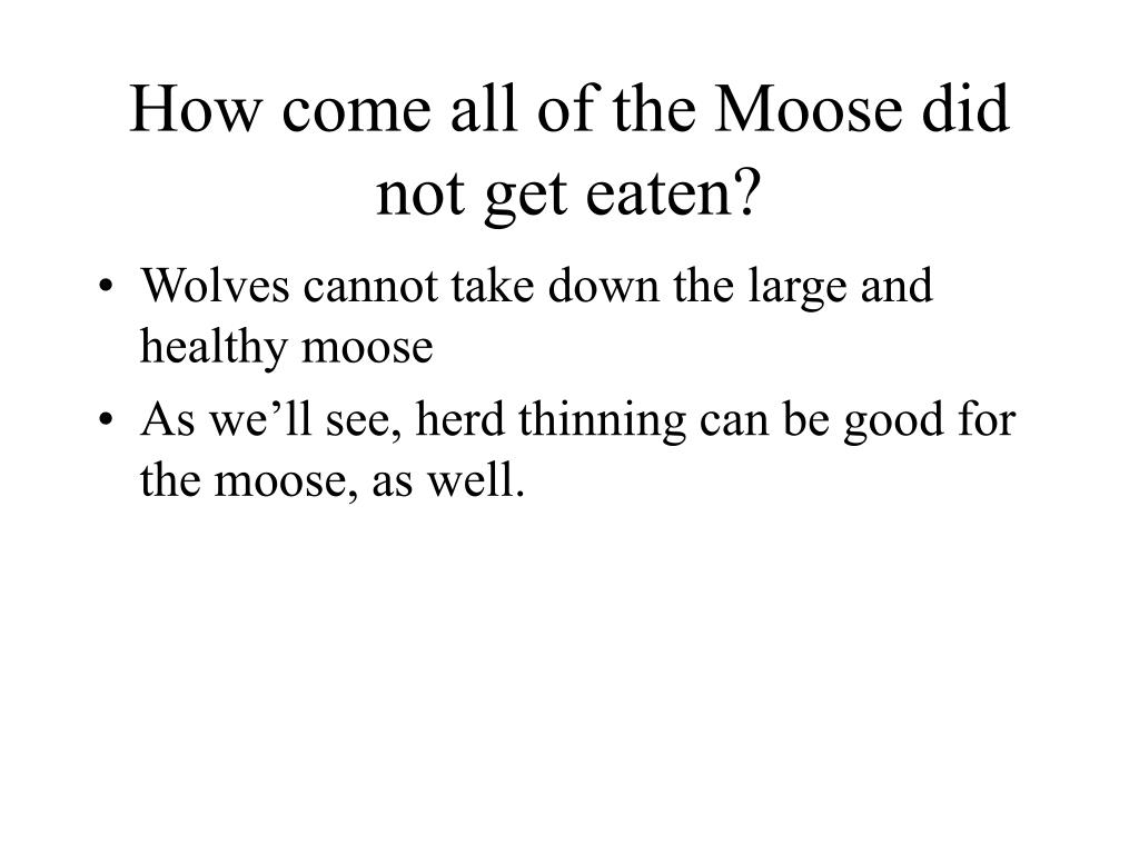 How come all of the Moose did not get eaten?