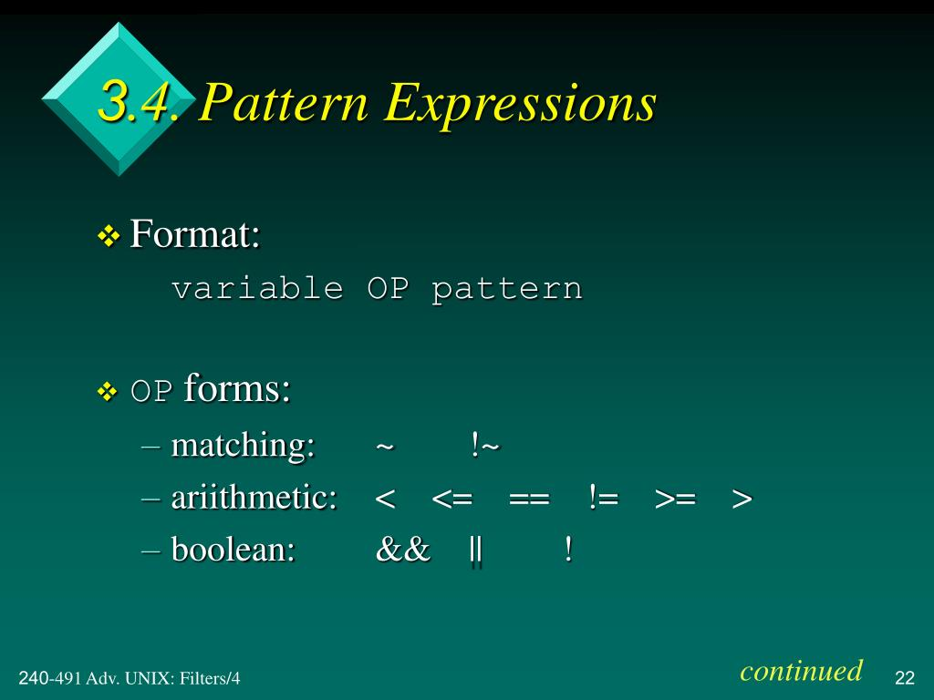 3.4. Pattern Expressions