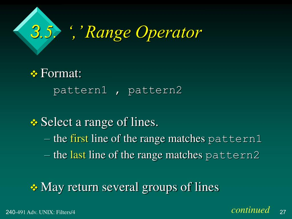 3.5.  ',' Range Operator