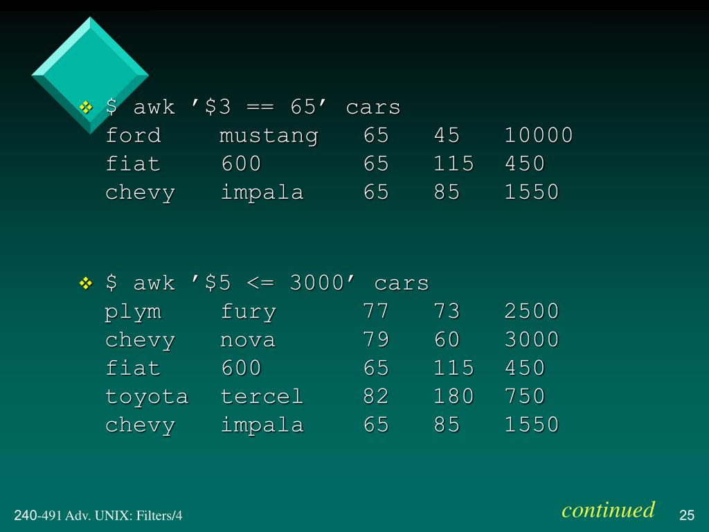$ awk '$3 == 65' cars