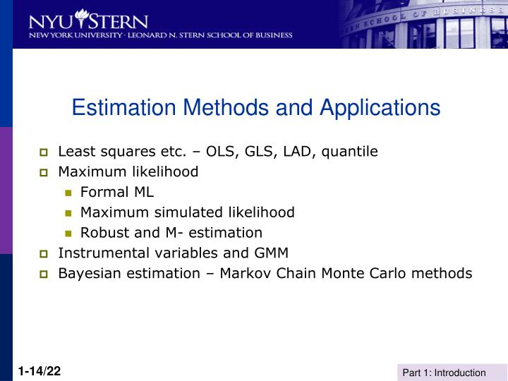 Estimation Methods and Applications