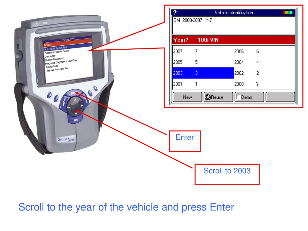 Scroll to the year of the vehicle and press Enter
