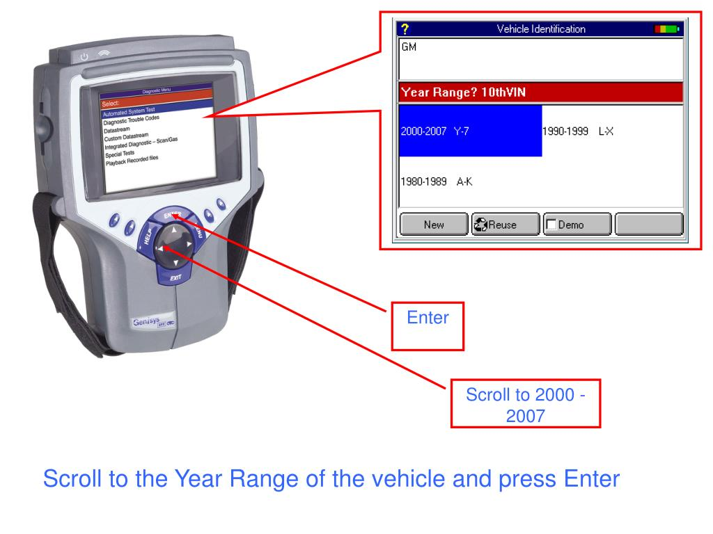 Scroll to the Year Range of the vehicle and press Enter
