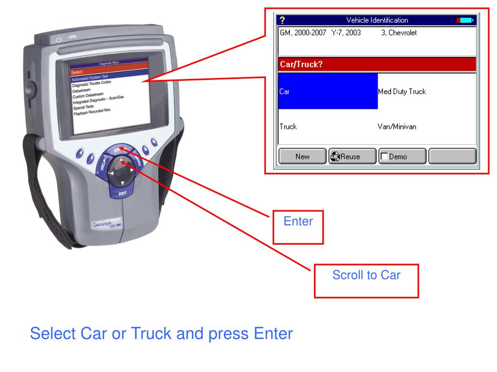 Select Car or Truck and press Enter