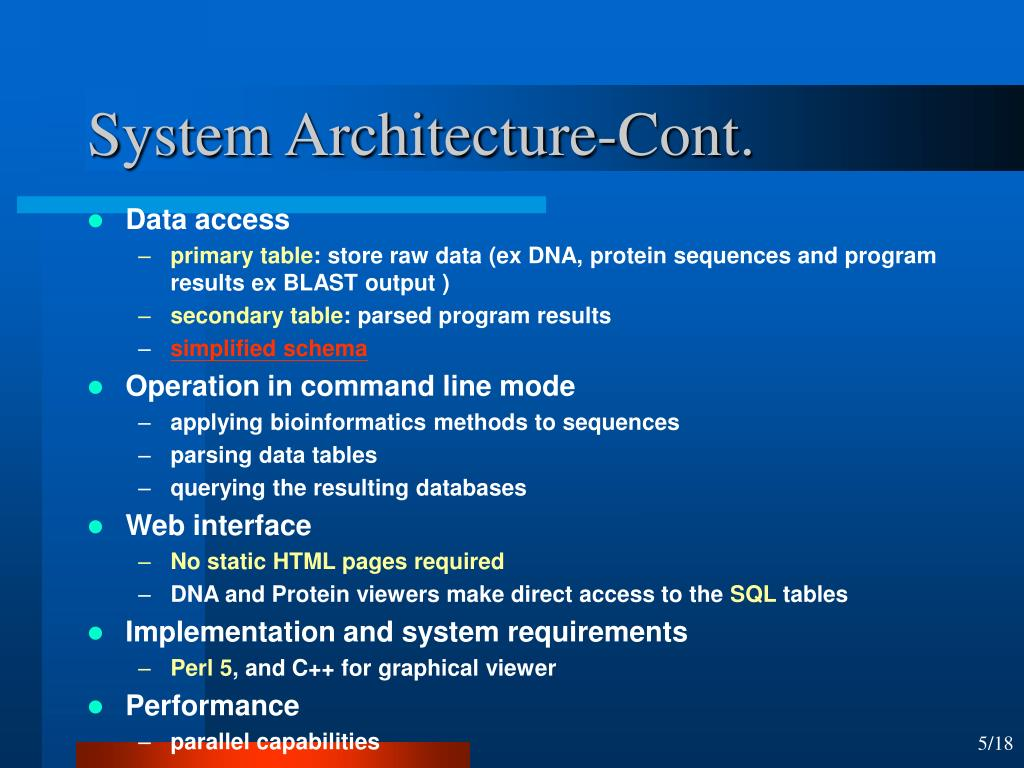 System Architecture-Cont.