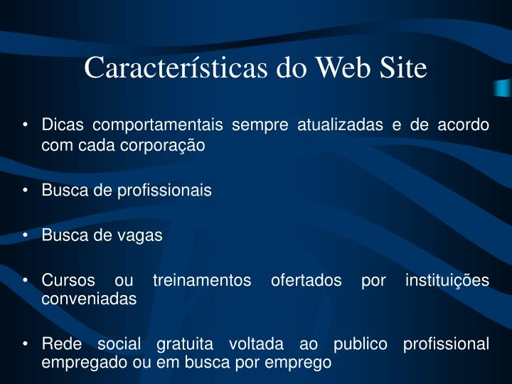 Características do Web Site